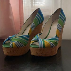 Nine West wedges in blue green and yellow